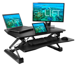 Seville Classics Airlift 35.4 inch Electric Height Adjustable Standing Desk Converter